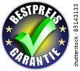 Best Price Guarantee Button/Label, german version Bestpreis Garantie blue - stock photo