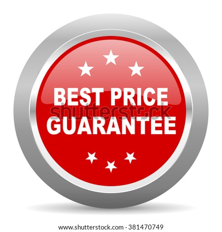 best price guarantee red chrome web circle glossy icon - stock photo
