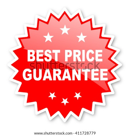 best price guarantee red tag, sticker, label, star, stamp, banner, advertising, badge, emblem, web icon - stock photo