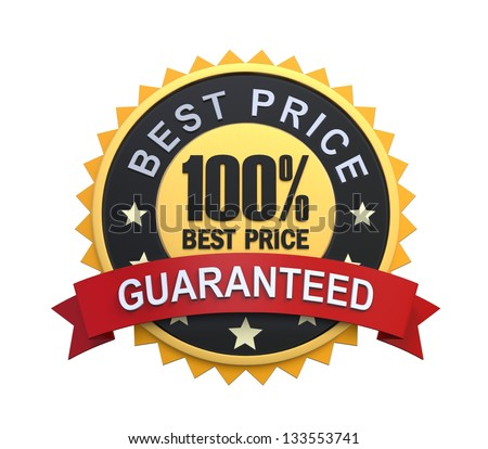 Best Price Guaranteed Label with Gold Badge Sign - stock photo