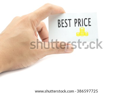 Best Price message on the card hand in hand on white background
