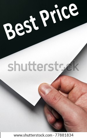 Best price word discovered by male hand - stock photo