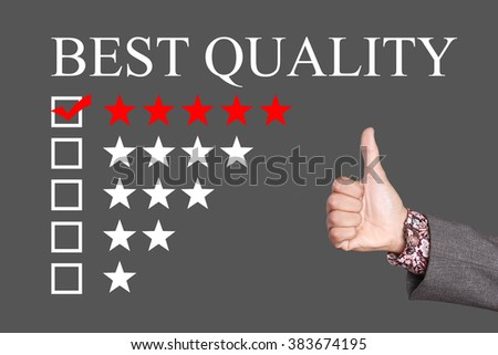 Best Quality - Five Stars Rating with thumb up. Grey Background