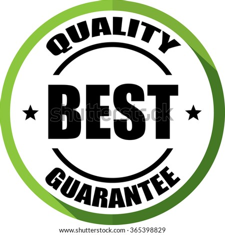 Best quality guarantee green, Button, label and sign. - stock photo