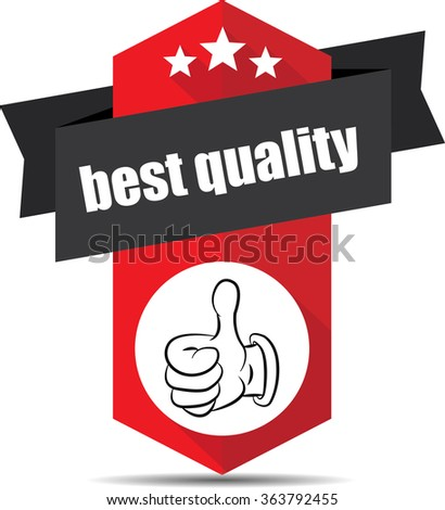 Best quality red label and sign. - stock photo