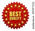 Best quality warranty tag, red and gold label - stock photo