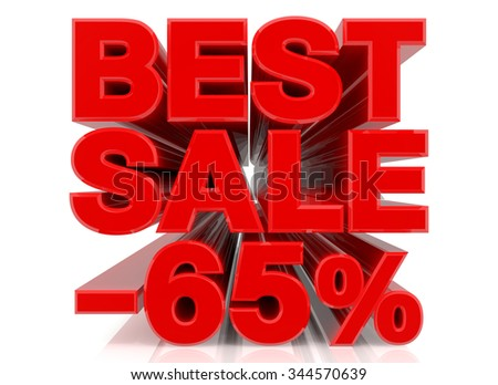 BEST SALE -65% word collection on white background 3d rendering