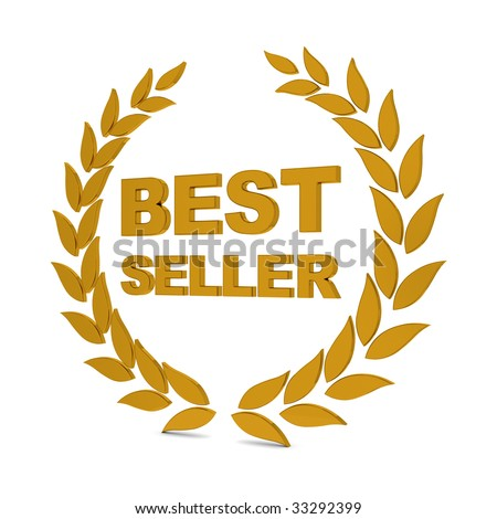 Best seller golden laurel wreath. Part of a series. - stock photo