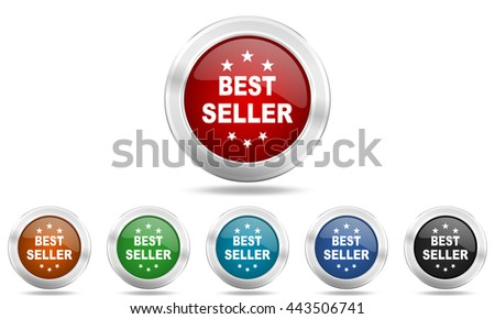 best seller round glossy icon set, colored circle metallic design internet buttons - stock photo