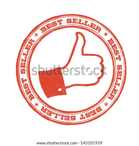 Best seller stamp with thumb up symbol. Raster version, vector file available in portfolio. - stock photo