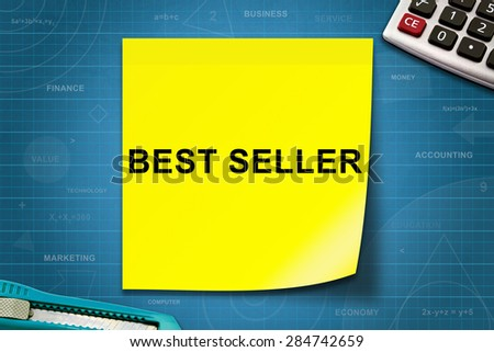 best seller text on yellow note with graph paper
