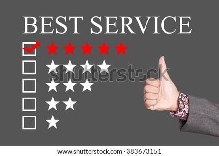 Best Service - Five Stars Rating with thumb up. Grey Background
