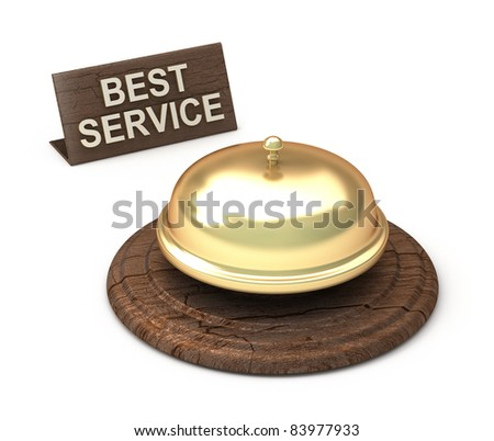 Best Service, golden bell - stock photo