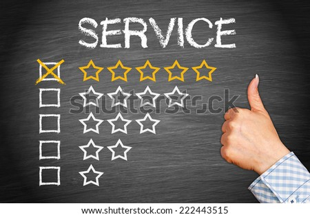 Best Service - 5 Star Rating - stock photo