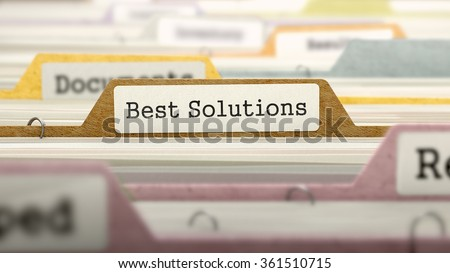 Best Solutions - Folder Register Name in Directory. Colored, Blurred Image. Closeup View.