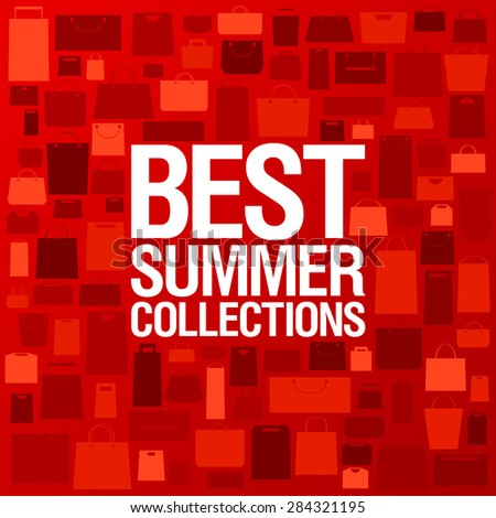 Best summer collections design template with shopping bags pattern, rasterized version. - stock photo