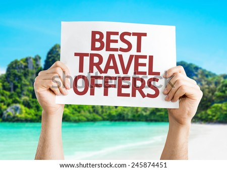 Best Travel Offers card with a beach on background - stock photo