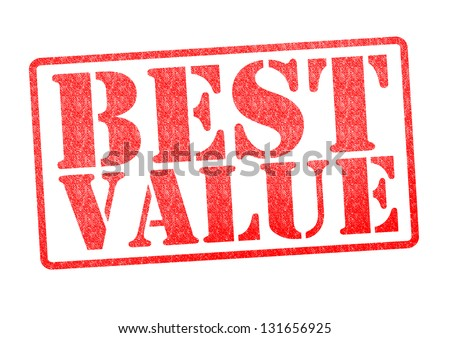 BEST VALUE red rubber stamp over a white background. - stock photo