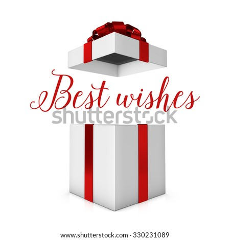 Best wishes red and white present - stock photo