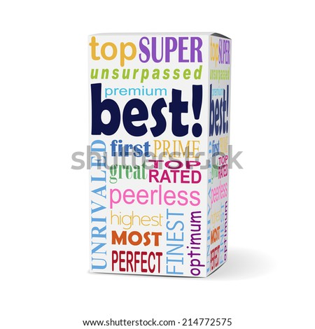 best word on product box with related phrases - stock photo