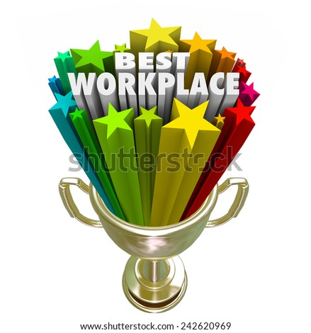 Best Workplace words and stars in a trophy or prize awarded to the company, business, organization or employer with best treatment, pay and benefits for employees and staff - stock photo