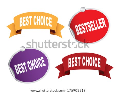 Bestseller and best choice Set of ribbons, stickers - stock photo