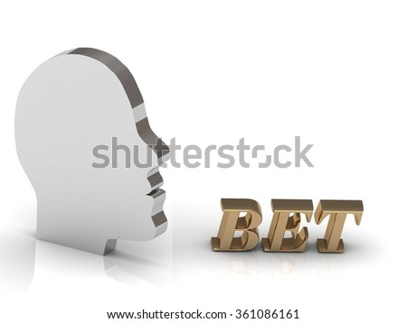 BET bright color letters and silver head mind on a white background