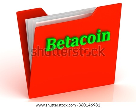 Betacoin- bright green letters on a gold folder on a white background - stock photo