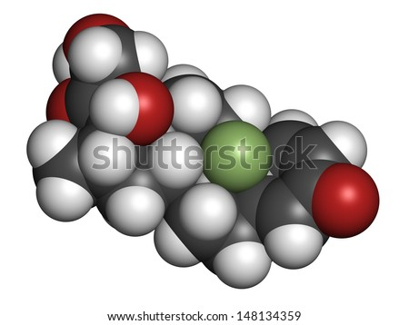 Betamethasone anti-inflammatory and immunosuppressive steroid drug, chemical structure. Atoms are represented as spheres with conventional color coding: hydrogen (white), carbon (grey), etc