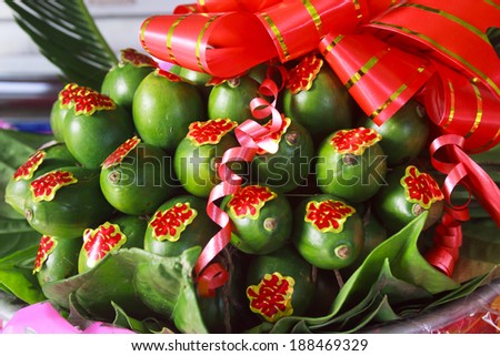Betel and areca for Vietnamese traditional wedding - stock photo