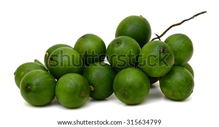 Betel nut fresh isolated on white background