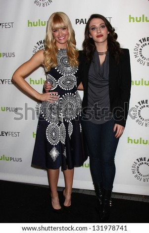 "Beth Behrs and Kat Dennings at ""2 Broke Girls"" at PaleyFest 2013, Saban Theater, Beverly Hills, CA 03-14-13"
