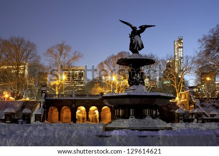 Bethesda Fountain in Central Park New York a day after snow storm Nemo. - stock photo