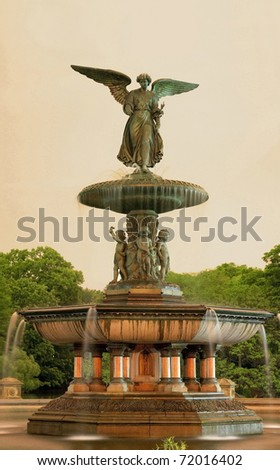 Bethesda fountain inside Central Park in New York at night. The fountain is unlit at night.  Photographed May, 2008 in the USA - stock photo