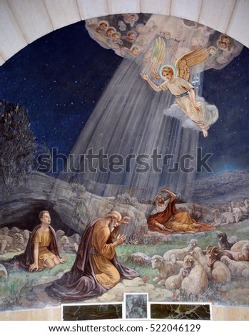 Bethlehem BETHLEHEM ISRAEL 26 10 16: Fresco in Shepherd Field Chapel. Has relevance for Catholics because there the first announcement of the birth of Christ is celebrated.