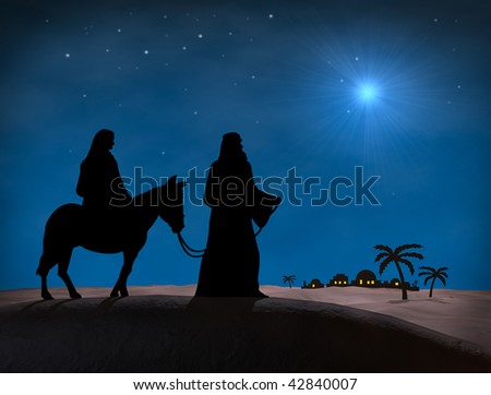 Bethlehem Christmas. Star in night sky above Bethlehem, with silhouette of Mary and Joseph on hill overlooking city. - stock photo