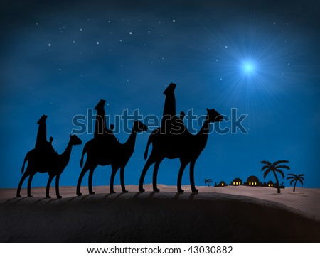 Bethlehem Christmas Wise Men. Star in night sky above Bethlehem, with Silhouettes on hill overlooking city. - stock photo