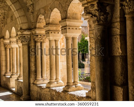 BETHLEHEM, ISRAEL - JULY 12, 2015: The gothic corridor of atrium at St. Catharine church