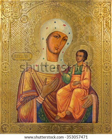 BETHLEHEM, ISRAEL - MARCH 6, 2015: The icon of Madonna in Syrian orthodox church by unknown artist of 19. cent.