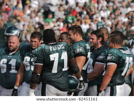 BETHLEHEM, PA - AUG 8: Members of the Philadelphia Eagles practice at  training camp held August 8, 2011 at Lehigh University in Bethlehem, Pennsylvania - stock photo