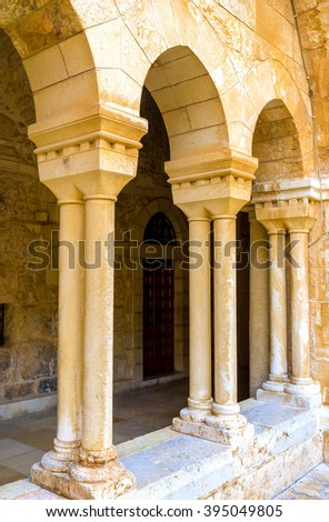 BETHLEHEM, PALESTINE - FEBRUARY 18, 2016: The rows of columns of the Franciscan courtyard of the Church of the Nativity, on February 18 in Bethlehem.