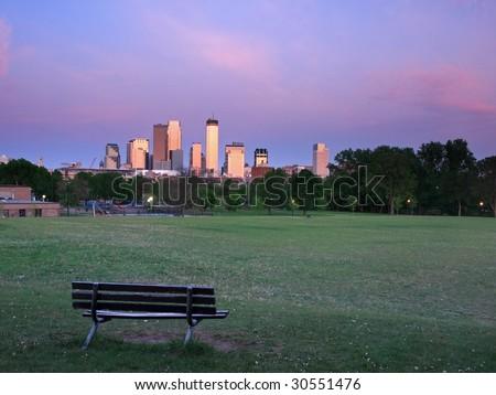 Bethune park in Minneapolis at sunset - stock photo