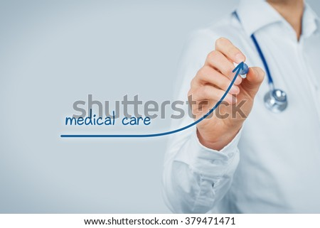 Better availability of medical care concept. Doctor (medical practitioner) want to increase number of patients with improving availability of medical care.