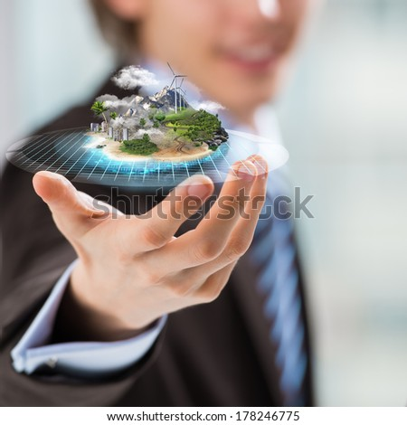 Better world project concept. Business man presenting his better world project - stock photo