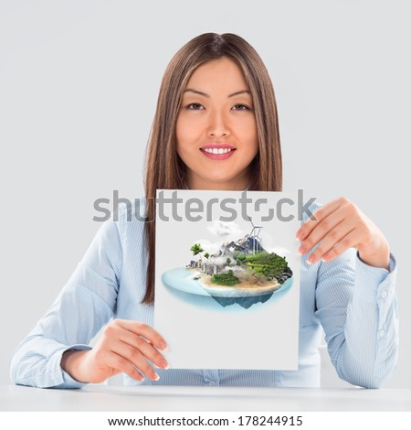 Better world project concept, Business woman presenting her ideal city project - stock photo