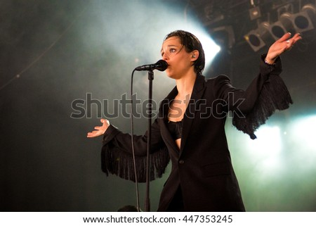 Beuningen, the Netherlands - June 25, 2016: Jehnny Beth of British post-punk band Savages performs live on stage at Down The Rabbit Hole Festival.