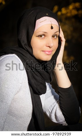 Beutiful muslim girl outdoor portrait - stock photo