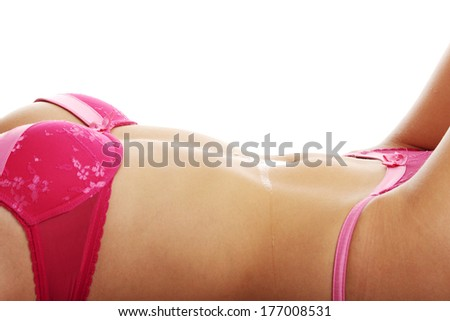 Beutiful sexy wet belly-button, isolated on white - stock photo