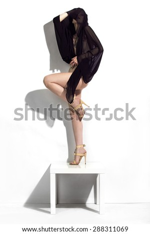 Beutiful slim girl posing in sexy outfit on white. - stock photo