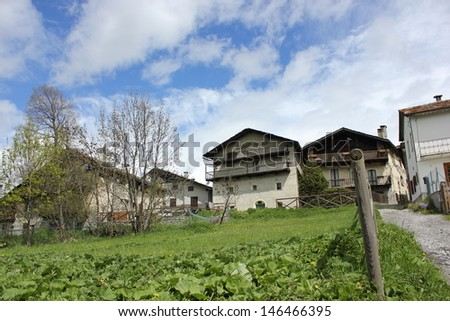 Beutiful village of Sauze d'Oulx in Piedmont, Italy - stock photo